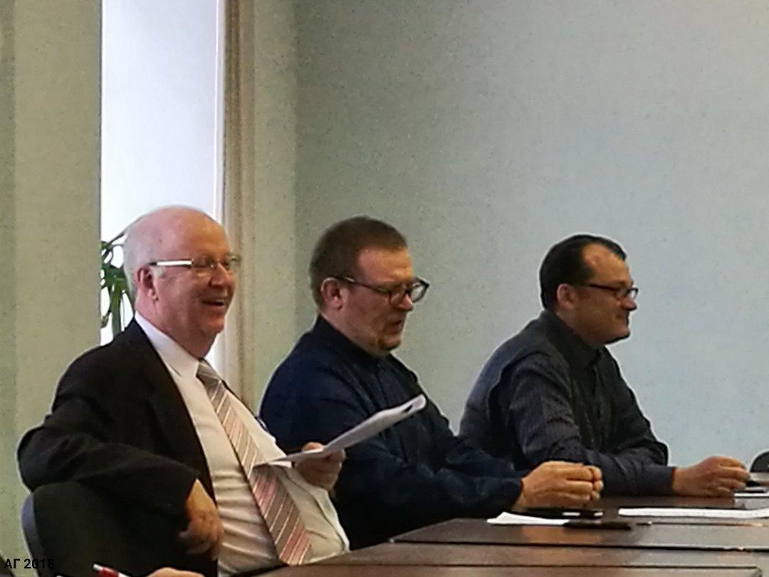 Профессор Гуннар Фон Хельстрём, В.Володин, А.М. Прилуцукий. Круглый стол «Научные исследования религиозных традиций», в рамках конференции «Религиозная ситуация на Северо-Западе», Санкт-Петербург, 16.04.2018.