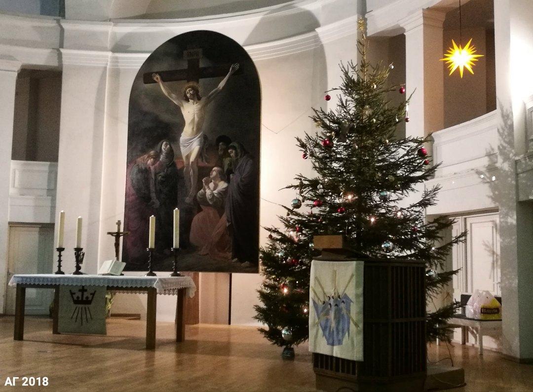 Рождественское убранство Петрикирхе, Сочельник, 24.12.2018 (фото: А. Гайдуков)